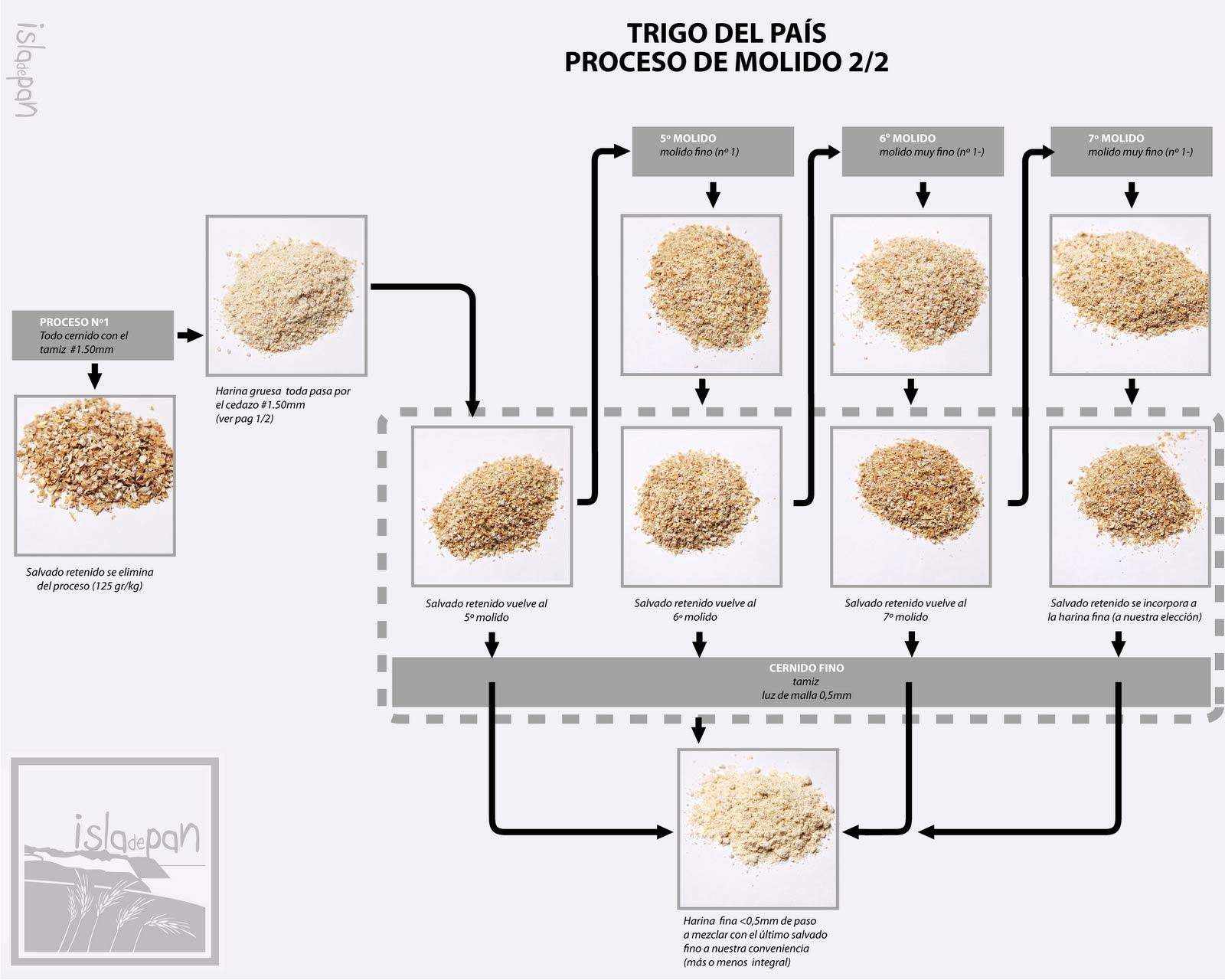 Proceso de refinado de la harina del trigo