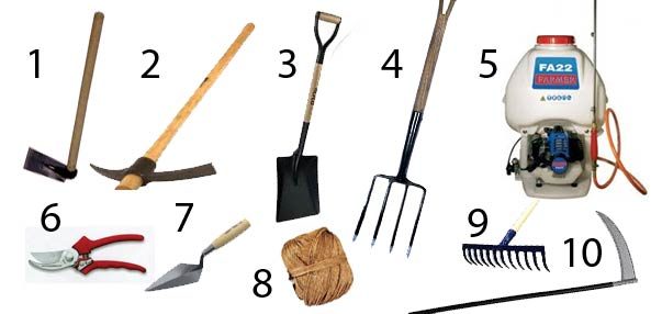 Vida en la tierra herramientas de agricultura para el for Herramientas que se utilizan en un vivero